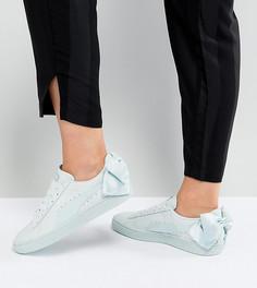 Светло-зеленые кроссовки с бантом Puma - Серый