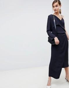 Платье 2 в 1 с драпировкой ASOS WHITE - Темно-синий