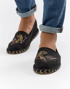 Черные эспадрильи с вышивкой ASOS DESIGN - Светло-бежевый
