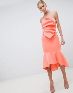 Платье миди с пуговицами и оборками ASOS DESIGN Premium - Оранжевый