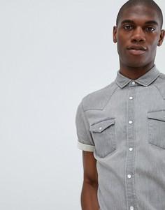 Светло-серая джинсовая рубашка скинни ASOS DESIGN - Серый