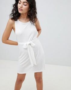 Пляжное платье из вафельного трикотажа с поясом ASOS DESIGN - Белый