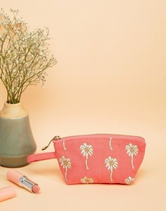 Коралловая дорожная мини-сумка 13 x 10 см с пальмами Elizabeth Scarlett - Мульти