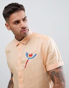 Бледно-оранжевая фактурная рубашка классического кроя с вышивкой ASOS DESIGN - Оранжевый