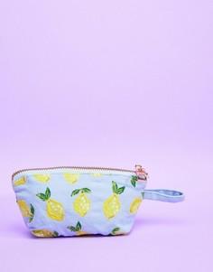 Дорожная мини-сумка 13 x 10 см из шамбре с лимонами Elizabeth Scarlett - Мульти