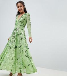 Платье миди с V-образным вырезом и отделкой ASOS EDITION Tall - Зеленый