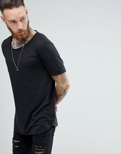 Свободная черная футболка из смешанного льна с закругленным краем ASOS DESIGN - Черный