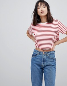Укороченная футболка в рубчик с полосками ASOS DESIGN - Мульти