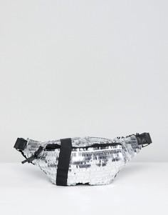 Сумка-кошелек на пояс с серебристыми пайетками Glamorous - Серебряный