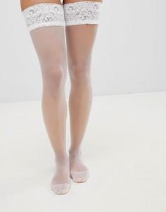 Блестящие чулки с кружевными манжетами Ann Summers - Белый