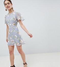 Шифоновое платье мини с цветочным принтом Missguided Petite - Синий