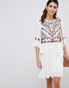 Платье с вышивкой и кисточками Y.A.S - Мульти
