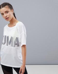 Белая футболка с переливающимся логотипом Puma Big Cat - Белый