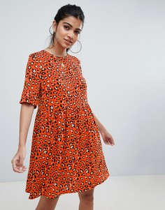 Свободное платье мини со звериным принтом ASOS DESIGN - Мульти