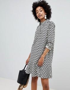 Платье-рубашка с зигзагообразным рисунком ASOS DESIGN - Мульти