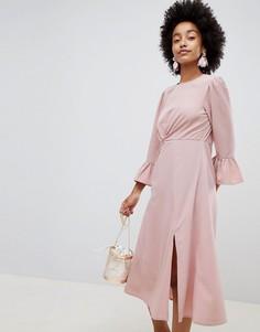 Платье миди с оборками на рукавах ASOS DESIGN - Розовый