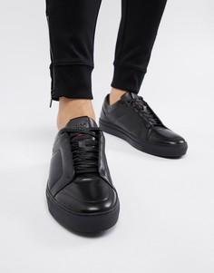 Черные кожаные кроссовки HUGO Futurism - Черный