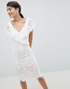 Кружевное платье-футляр с оборкой City Goddess - Белый