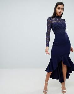 Платье макси с длинными рукавами City Goddess - Темно-синий