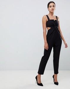 Комбинезон с узелком и широкими брюками ASOS DESIGN - Черный