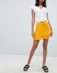 Мини-юбка с оборками Missguided - Желтый