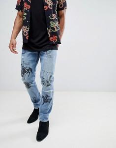 Синие джинсы слим с принтом ASOS DESIGN - Синий
