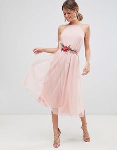 Платье миди из тюля с аппликацией ASOS DESIGN - Розовый
