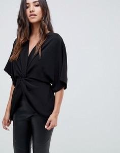 Топ с рукавами кимоно и декоративным узлом ASOS DESIGN - Черный