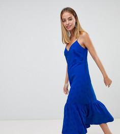 Платье-комбинация миди с баской ASOS DESIGN Petite - Синий