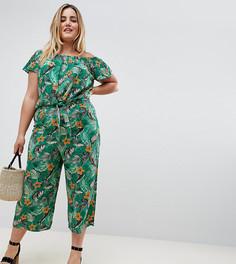 Укороченные брюки с тропическим принтом New Look Curve - Зеленый
