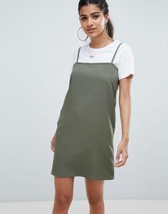 Платье мини на бретельках с квадратным вырезом ASOS DESIGN - Зеленый