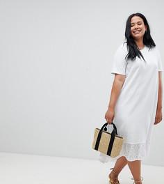 Платье-футболка миди с асимметричным краем и отделкой ришелье ASOS DESIGN Curve - Белый