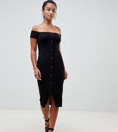 Платье миди в рубчик с открытыми плечами и кнопками ASOS DESIGN Petite - Черный
