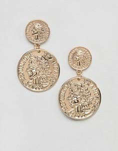 Серьги-подвески с двумя монетами Missguided - Золотой