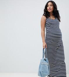 Трикотажное платье макси из органического хлопка Mamalicious - Темно-синий Mama.Licious