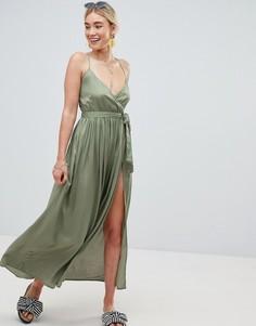 Пляжное платье макси с запахом ASOS - Зеленый
