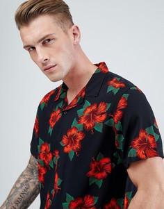 Черная приталенная рубашка с цветочным принтом New Look - Черный