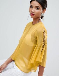 Шифоновая блузка с завязками на рукавах Yas - Желтый Y.A.S