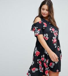 Короткое приталенное платье с вырезами на плечах и цветочным принтом Praslin - Мульти