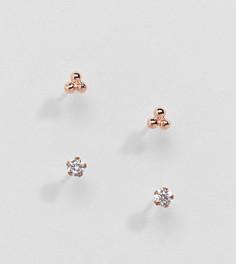 Набор покрытых розовым золотом серег-гвоздиков со стразами Kingsley Ryan - Золотой
