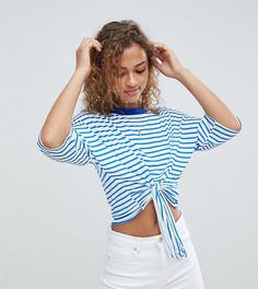 Укороченная футболка в полоску с завязкой Wednesdays Girl - Синий