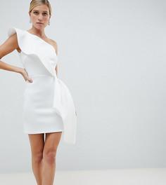 Белое платье мини на одно плечо с баской True Violet - Белый