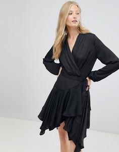 Платье с запахом и каскадным краем d.Ra - Черный