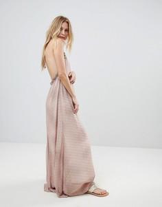 Пляжное платье макси в полоску Island Stories - Розовый