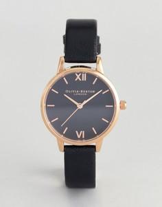 Черные часы с кожаным ремешком и лучистым рисунком на циферблате Olivia Burton OB16MD83 - Черный