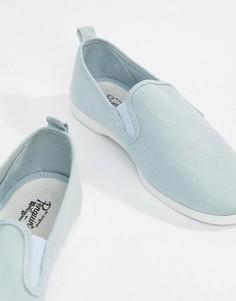 Голубые кеды-слипоны для широкой стопы Original Penguin Norris - Синий