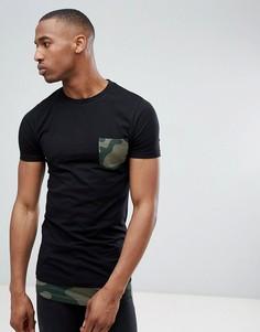Супердлинная обтягивающая футболка с контрастной вставкой и принтом на кармане ASOS DESIGN - Черный
