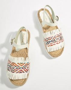 Белые сандалии-эспадрильи с ремешком вокруг щиколотки Kaltur - Белый