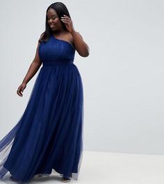 Платье макси на одно плечо из тюля ASOS DESIGN Curve - Фиолетовый