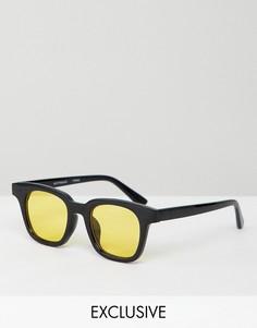Квадратные солнцезащитные очки с желтыми стеклами Reclaimed Vintage Inspired - Черный